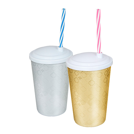 Copo-550ml-Plástico-Com-Tampa-e-Canudo-Label-Festa-Prata-e-Dourado